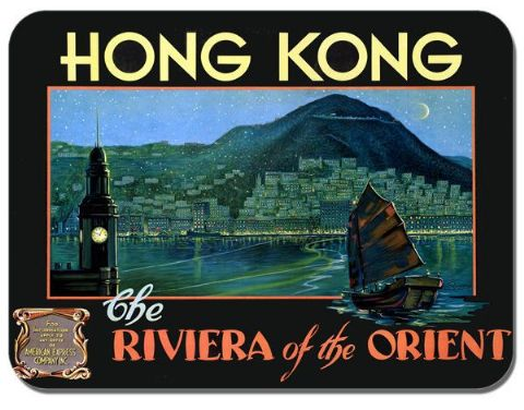 Hong Kong Vintage 1930s Advert Mouse Mat.  Poster Mouse Pad American Express